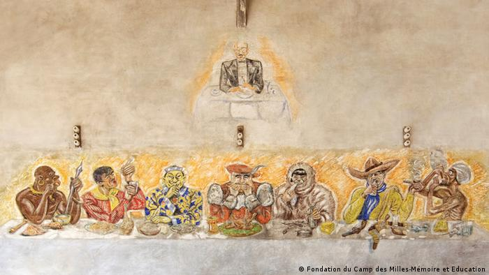 mural that satirises the last supper, an eskimo, cowboy and other characters feasting on an abundance of food and drink