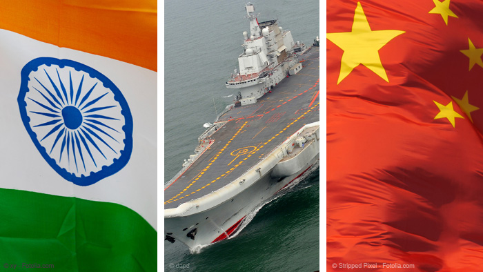 Montage: Flags of India and China and a Chinese aircraft carrier