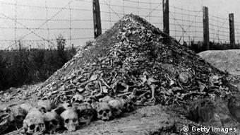 LUBLIN, POLAND: A pile of human bones and skulls is seen in 1944 at the Nazi concentration camp of Majdanek in the outskirts of Lublin, the second largest