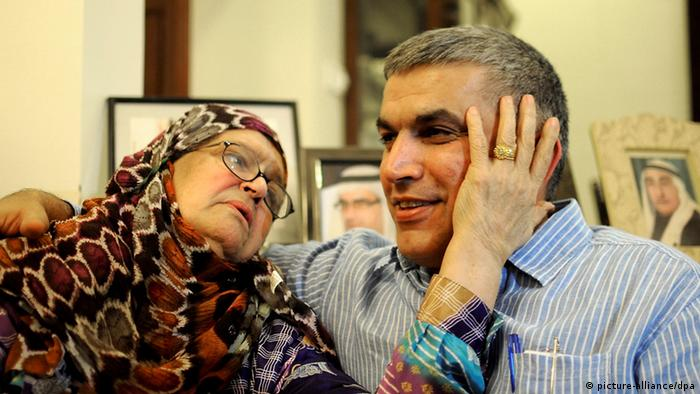 epa03421307 (FILE) A file photo dated 28 May 2012 shows rights activist, Nabeel Rajab, (R) sitting with his mother Rabab Mohammed Jawad shortly after his release, at his home in Bani Jamrah village, north of Manama, Bahrain. Bahraini authorities on 04 October 2012 allowed Rajab, who is serving a three year sentence for protesting, and his 65-year-old uncle Mohammed Hassan Jawad, who is serving a 15 years sentence for his role in last year_s pro-reform protests, to attend the burial of Rabab Jawad who died in the early morning hours of 04 October. EPA/MAZEN MAHDI *** Local Caption *** 50361592 +++(c) dpa - Bildfunk+++