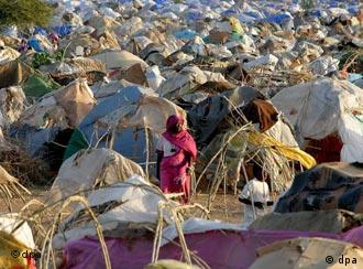 Thousands of refugees in a camp in Darfur.