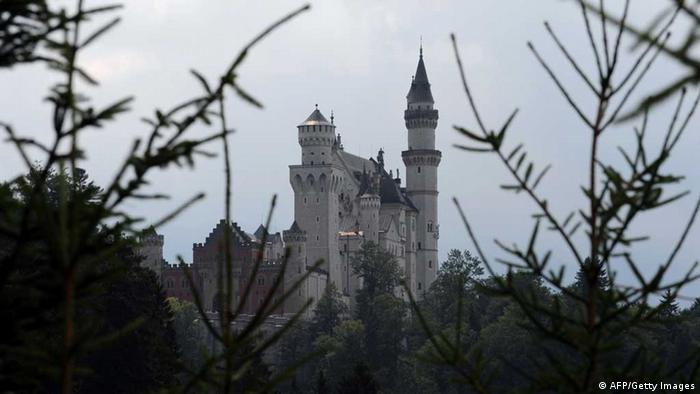 Photo of Neuschwanstein framed by tree branches