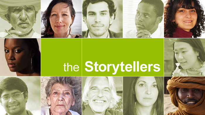 A graphic showing faces and the words The Storytellers