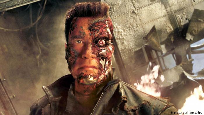 Scene from sc-fi movie the Terminator featuring Arnold Schwarzenegger as a robot