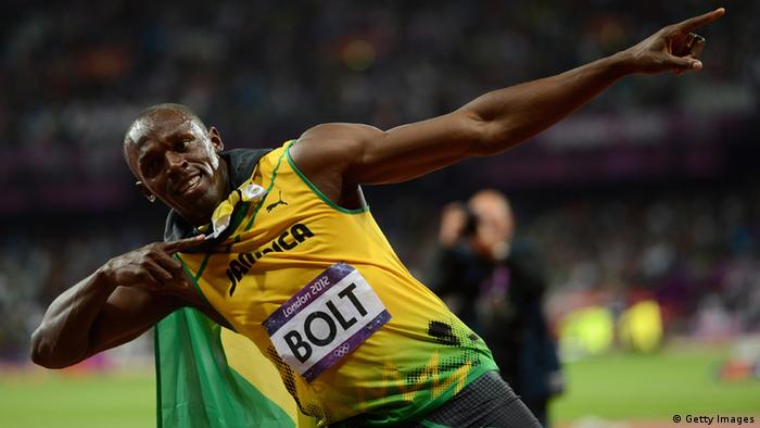 LONDON, ENGLAND - AUGUST 05: Usain Bolt of Jamaica celebrates winning gold in the Men's 100m Final on Day 9 of the London 2012 Olympic Games at the Olympic Stadium on August 5, 2012 in London, England.(Photo by Julia Vynokurova/Getty Images)