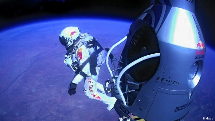 Felix Baumgartner jumping out of the capsule for Red Bull Stratos in a spacesuit. (Photo:
