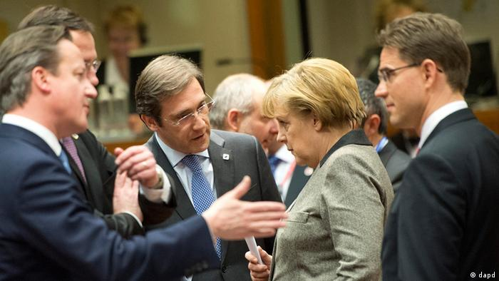 British Prime Minister David Cameron, Portugal's Prime Minister Pedro Passos Coelho, German Chancellor Angela Merkel and Finland's Prime Minister Jyrki Tapani Katainen (Foto:Geert Vanden Wijngaert/AP/dapd)