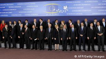 (L to R first row) Slovenian President Danilo Turk, Lithuanian President Dalia Grybauskaite, Italian Prime Minister Mario Monti, Irish Prime Minister Enda Kenny, European Parliament President Martin Schulz, Romanian President Traian Basescu, Cypriot President Demetris Christofias, European Council President Herman Van Rompuy, French President Francois Hollande, European Commission President Jose Manuel Barroso, Greek President Karolas Popoulias, Latvian Prime Minister Valdis Dombrovskis and Dutch Prime Minister Mark Rutte, (L to R second row) Croatian Prime Minister Zoran Milanovic, Danish Prime Minister Helle Thorning-Schmidt, Polish Prime Minister Donald Tusk, Hungarian Prime Minister Viktor Orban, Belgian Prime Minister Elio Di Rupo, Spanish Prime Minister Mariano Rajoy, Swedish Prime Minister Fredrik Reinfeldt, Czech Prime Minister Petr Necas, Slovak Prime Minister Roberto Fico, Portuguese Prime Minister Pedro Passos Coelho, German Chancellor Angela Merkel, Finnish Prime Minister Jyrki Katainen, Austrian Federal Chancellor Werner Faymann, Bulgarian Prime Minister Boyko Borisov, Estonian Prime Minister Andrus Ansip, British Prime Minister David Cameron and Maltese Prime Minister Lawrence Gonzi pose during a family photo at the EU Headquarters on December 13, 2012 in Brussels, on the first day of a two-day European Union leaders. AFP PHOTO / JOHN THYS (Photo credit should read JOHN THYS/AFP/Getty Images)