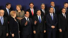 European Union leaders pose for a family photo during a EU summit in Brussels December 13, 2012. European governments reached a landmark deal on Thursday that gives the European Central Bank new powers to supervise banks, boosting confidence in the single currency bloc as it enters the fourth year of its debt crisis. hen banking oversight and work on wider reforms at their sixth summit of 2012 starting on Thursday. REUTERS/Yves Herman (BELGIUM - Tags: POLITICS BUSINESS)