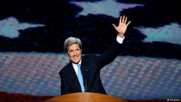 U.S. Navy veteran and former Democratic presidential nominee U.S. Senator John Kerry (D-MA) waves at the end of his speech during a segment on U.S. veterans during the final session of the Democratic National Convention in Charlotte, North Carolina in this September 6, 2012, file photo.
