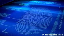 Identification system interface scanning a human fingerprint © itestro #26269271