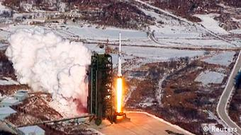 A video grab from KCNA shows the Unha-3 (Milky Way 3) rocket launching at North Korea's West Sea Satellite Launch Site, at the satellite control centre in Cholsan county, North Pyongan province.