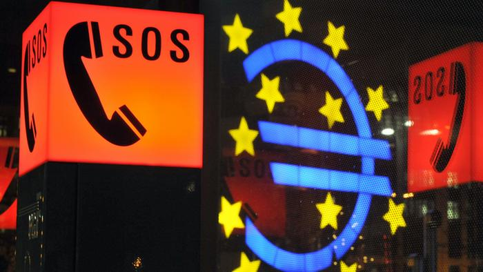 A illuminated phone symbol with the word SOS and the Euro sign
