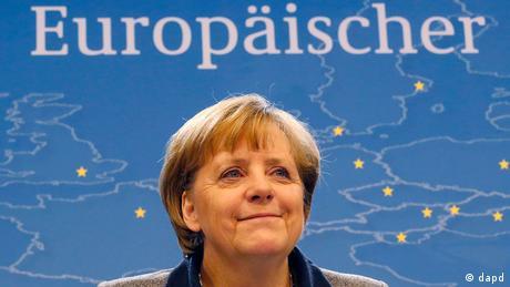 Die deutsche Bundeskanzlerin Angela Merkel während einer Pressekonferenz bei dem EU- Gipfel in Brüssel.