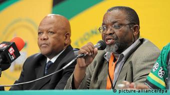 epa03510272 ANC Secretary General Gwede Mantashe (R) and NEC Member Jeff Radebe address the media conference on the outcome of the NEC meeting in Mangaung, South Africa, 15 December 2012, on the subject of court ruling. Members of the ANC in the North West took the party to court to prevent the province_s delegates from attending its 53rd national conference. The application was dismissed, but the court ordered the national conference to deal with the issue. At the previous ANC election, in 2007, incumbent President, Jacob Zuma ousted then-president Thabo Mbeki, creating rifts within the party. EPA/ELMOND-JIYANE/GCIS/HO