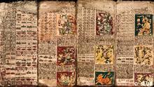 Zu sehen ist ein Ausschnitt aus dem Maya-Codex Dresdensis, der in der SLUB in Dresden aufbewahrt wird. Copyright: SLUB zugeliefert von: Viola Campos (viola.campos-behnke@dw.de) die Bilder wurden ihr von Herrn Markus Rindt für die DW zur Verfügung gestellt.