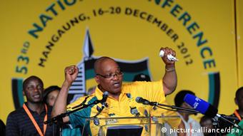 [35746105] South Africa 53rd ANC National Conference epa03510886 South African President Jacob Zuma speaks during the 53rd ANC National Conference held in Mangaung, South Africa, 16 December 2012. The conference, held every five years, will decide the leader of the former struggle party. Jacob Zuma is facing a challenge to his leadership from deputy president Kgalema Motlanthe. EPA/KIM LUDBROOK +++(c) dpa - Bildfunk+++