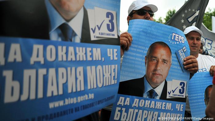 Bulgarien Wahlen Plakat von Boiko Borissow Bürgermeister von Sofia