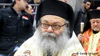 Bishop Youhanna Yazigi outside the Meriamiah Church in the Syrian captial Damascus. Yazigi was inaugurated at the Balamand Monastery, north of Beirut, on December 17, 2012 after he was elected as the new Patriarch of the Greek Orthodox church. Photo: LOUAI BESHARA/AFP/Getty Images