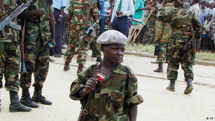 Congolese rebels in military uniforms