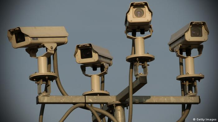A general view of four CCTV surveillance cameras covering a car park near to the O2 Arena on March 18, 2009 in London. (Photo: Oli Scarff/Getty Images)