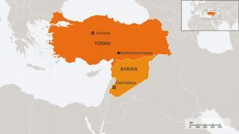 Regionalkarte mit dem Standort der deutschen Patriot-Raketen in Kahramanmaras (Foto: DW)