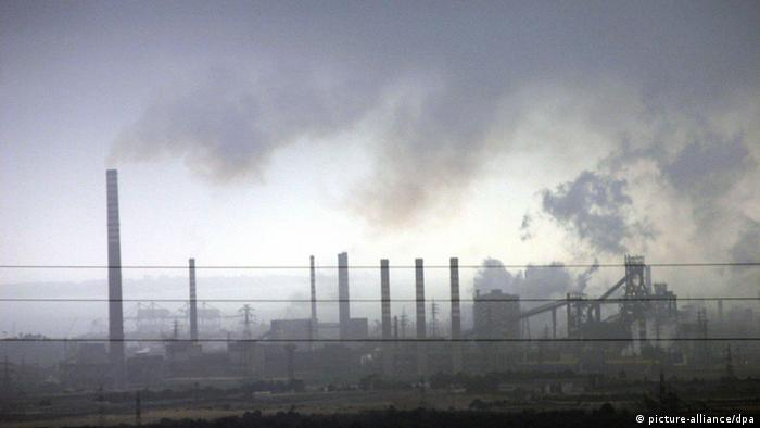 smog in the sky above the factory in Taranto