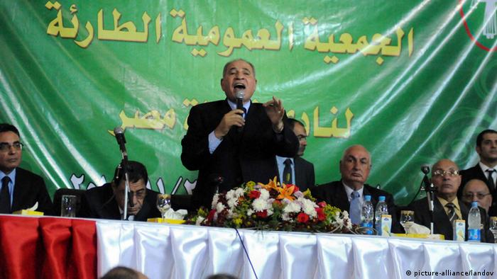 Image #: 20258185 Ahmed al-Zind (C), head of Egypt's Judges Club, speaks during a meeting of judges at the club in Cairo November 24, 2012. Egyptian President Mohamed Morsi faced a rebellion on Saturday from judges who accused him of expanding his powers at their expense, deepening a crisis that triggered calls for more protests following a day of violence across Egypt. Egypt's highest judicial authority, the Supreme Judicial Council, said the decree issued by Morsi on Thursday was an unprecedented attack on the independence of the judiciary. UPI/Ahmed Jomaa /LANDOV