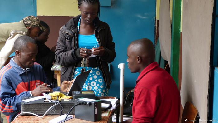 Clerks at work at the Huruma voter registration centre on the outskirt of Nairobi Photo James Shimanyula