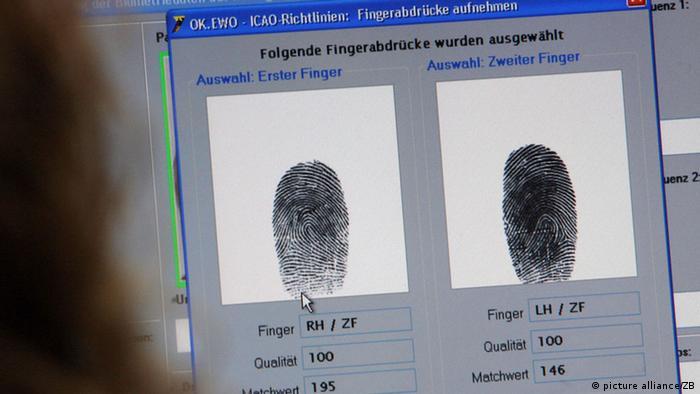 Datenerfassung Fingerabdrücke für Reisepässe