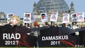 Demonstrators protest in Berlin against arms exports to Saudi Arabia (photo: dapd).
