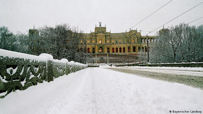 Bayerischer Landtag (Bavarian state parliament), pictured in heavy snow