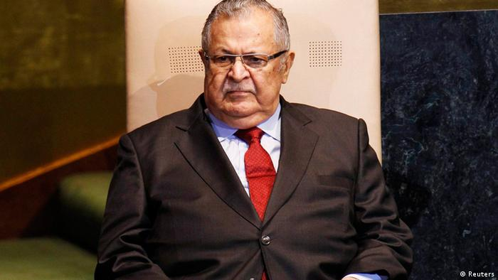 Iraq's President Jalal Talabani waits to address the 66th session of the United Nations General Assembly at the U.N. headquarters in New York in this September 23, 2011 file photo. (Photo via Reuters)