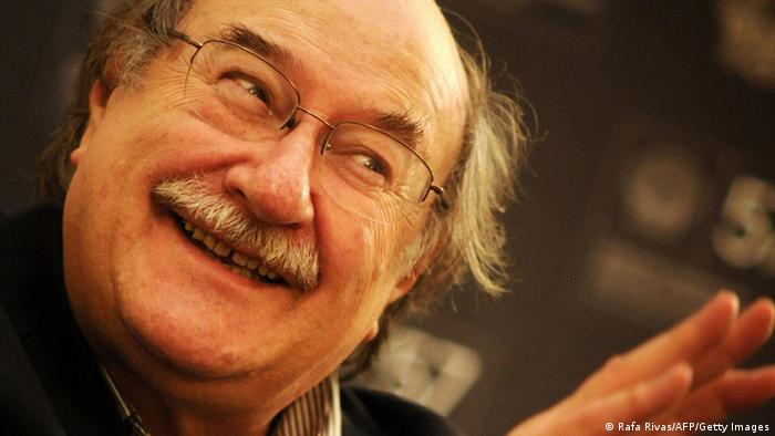 Chilean author Antonio Skarmeta smiles during an interview during the second day of the 57th San Sebastian International Film Festival, on September 19, 2009 at the Hotel Maria Cristina in San Sebastian. AFP PHOTO/Rafa Rivas (Photo credit should read RAFA RIVAS/AFP/Getty Images)
