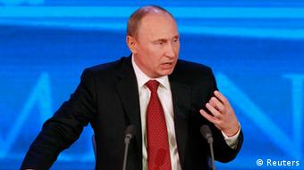 Vladimir Putin speaking during annual press conference in Moscow, 2012