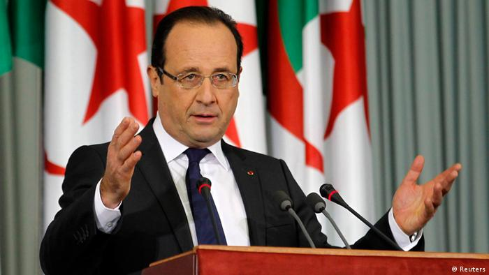 France's President Francois Hollande gives a speech at the Palais des Nations in Algiers on the second day of a two-day official visit, December 20, 2012. Hollande is on an official two-day state visit in Algeria to try to heal wounds left by a bloody war of independence half a century ago and to seek greater access to the former colony's oil wealth in an attempt to lift France's own flagging economy. REUTERS/Louafi Larbi (ALGERIA - Tags: POLITICS)