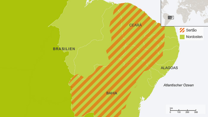 Karte Klimazone im nördlichen Brailien Sertão DE