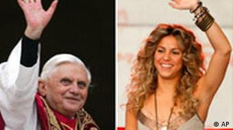 A combo picture of Pope Benedict XVI and Mexican pop singer Shakira