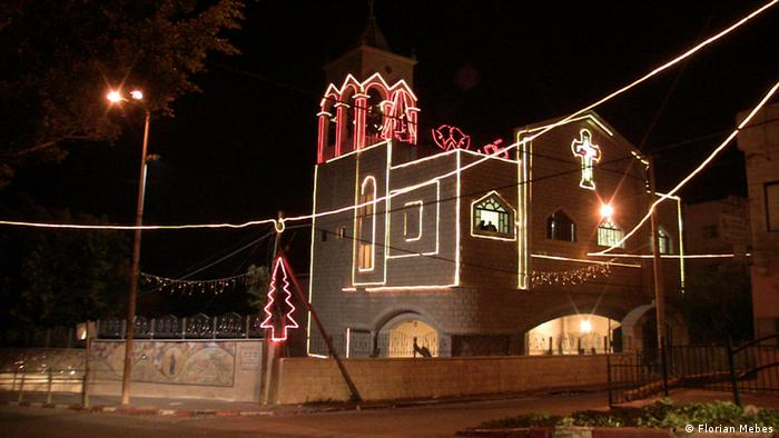 Church in Maghar decorated with lights