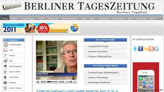 Так виглядає стартова сторінка Berliner Tageszeitung - Berliner Tageblatt