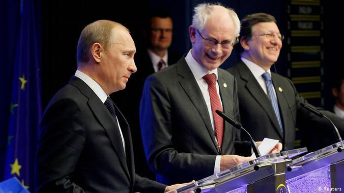 Wladimir Putin, Herman Van Rompuy und Jose Manuel Barroso (Foto: Reuters)