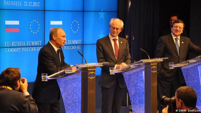 Russian President Vladimir Putin, European Council President Herman Van Rompuy and European Commission President Jose Manuel Barroso