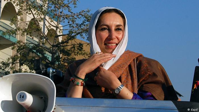 Former Pakistans Prime Minister Benazir Bhutto arrives to address to her last public rally in Rawalpindi, Pakistan in December 2007 (Photo: Mohammad Javed, File/AP/dapd)