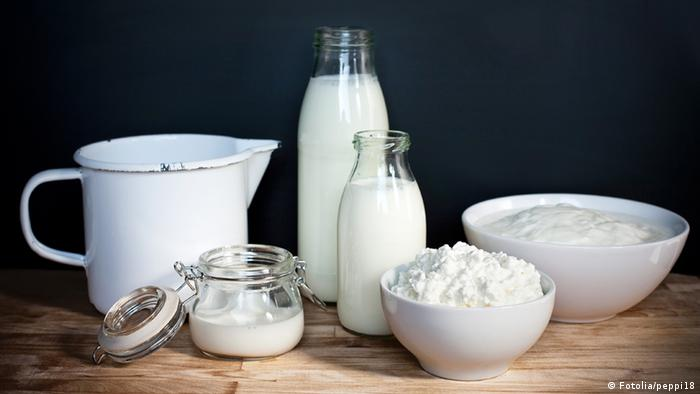 Dairy products in glass, enamel and ceramic containers