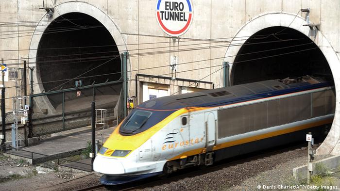 A high-speed Eurostar train from London leaves the Channel tunnel Photo credit should read