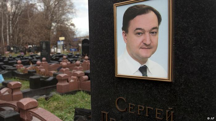 A tombstone on the grave of lawyer Sergei Magnitsky (photo via AP)
