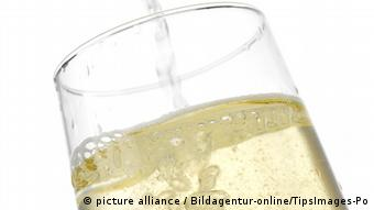 Glass of sparkling wine.