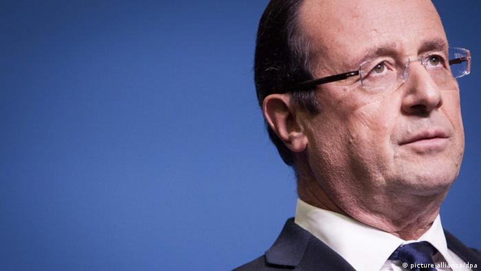 Close-up of Francois Hollande on October 29, 2012, delivering a speech. © Marlene Awaad / IP3