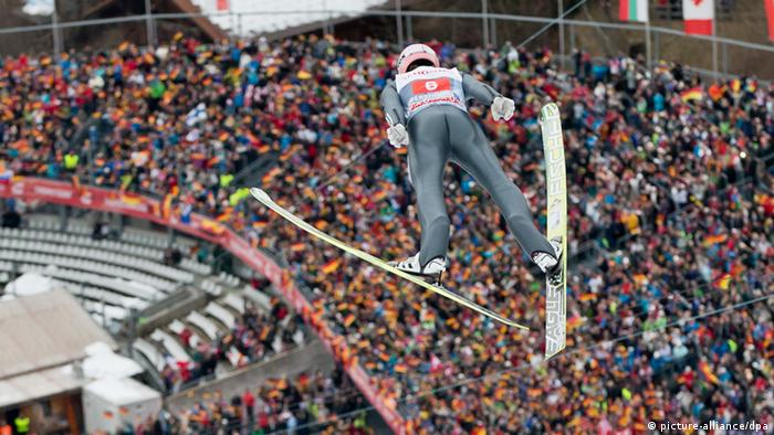 Severin Freund of Germany came third in the Four Hills ski jumping tournament at Oberstdorf, Germany (Photo: Daniel Karmann/dpa)