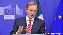 Irish Prime Minister Enda Kenny speaks during a press conference with European Commission President following their working session on October 3, 2012 at the EU Headquarters in Brussels. Ireland will take the next turn over EU presidency. AFP PHOTO / GEORGES GOBET (Photo credit should read GEORGES GOBET/AFP/GettyImages)